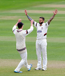Somerset's Peter Trego celebrates the wicket of Yorkshire's Andrew Gale. Photo mandatory by-line: Harry Trump/JMP - Mobile: 07966 386802 - 24/05/15 - SPORT - CRICKET - LVCC County Championship - Division 1 - Day 1- Somerset v Sussex Sharks - The County Ground, Taunton, England.