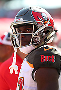 Nov 25, 2018; Tampa, FL, USA; Tampa Bay Buccaneers wide receiver Chris Godwin (12) looks at a replay during an NFL game against the San Francisco 49ers at Raymond James Stadium. The Buccaneers beat the 49ers 27-9. (Steve Jacobson/Image of Sport)