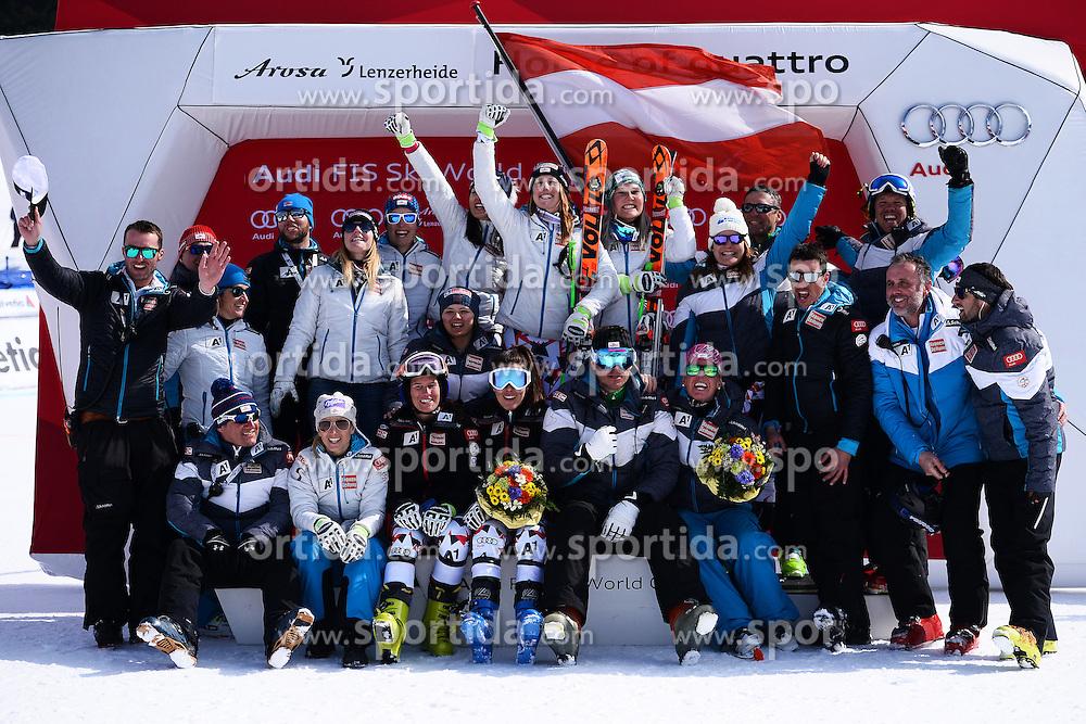 12.03.2016, Pista Silvano Beltrametti, Lenzerheide, SUI, FIS Weltcup Ski Alpin, Lenzerheide, Super G, Damen, Siegerehrung, im Bild Das Oestreicher Team jubelt auf dem Podium // on podium for the ladie's Super G of Lenzerheide FIS Ski Alpine World Cup at the Pista Silvano Beltrametti in Lenzerheide, Switzerland on 2016/03/12. EXPA Pictures &copy; 2016, PhotoCredit: EXPA/ Freshfocus/ Manuel Lopez<br /> <br /> *****ATTENTION - for AUT, SLO, CRO, SRB, BIH, MAZ only*****