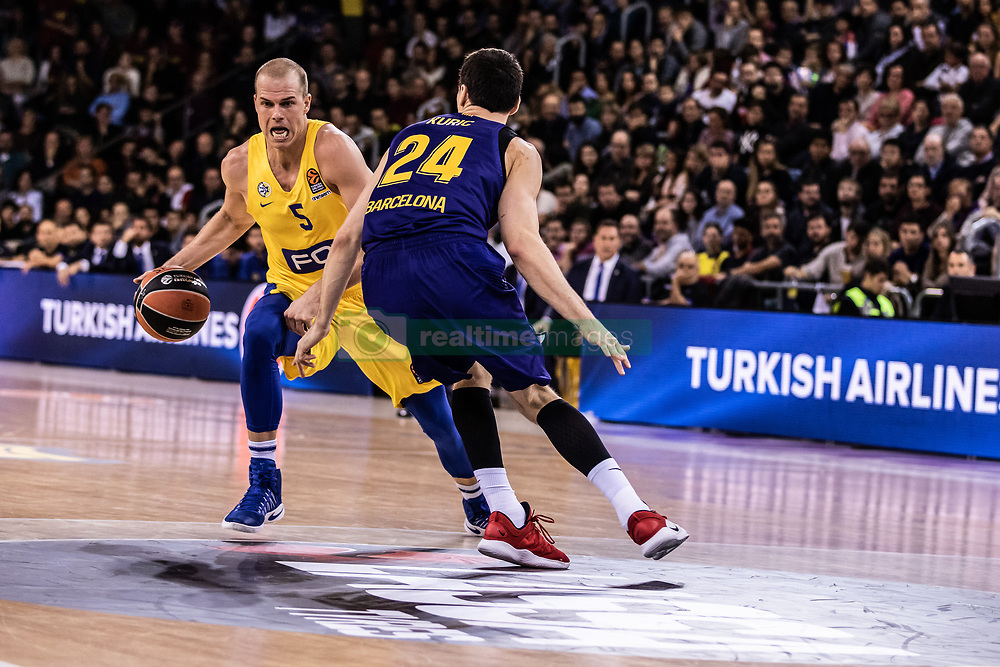 November 1, 2018 - Barcelona, Barcelona, Spain - Michael Roll, #5 of Maccabi Fox Tel Aviv in actions during EuroLeague match between FC Barcelona Lassa and Maccabi Fox Tel Aviv  on November 01, 2018 at Palau Blaugrana, in Barcelona, Spain. (Credit Image: © AFP7 via ZUMA Wire)