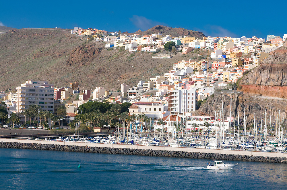 The habour of the capital of La Gomera, San Sebastian, La Gomera, Canary Islands, Spain