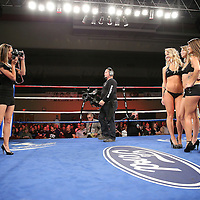 "Ring girls pose during the ""Boxeo Telemundo"" boxing match at the Kissimmee Civic Center on Friday, March 14, 2014 in Kissimmme, Florida. (Photo/Alex Menendez)"