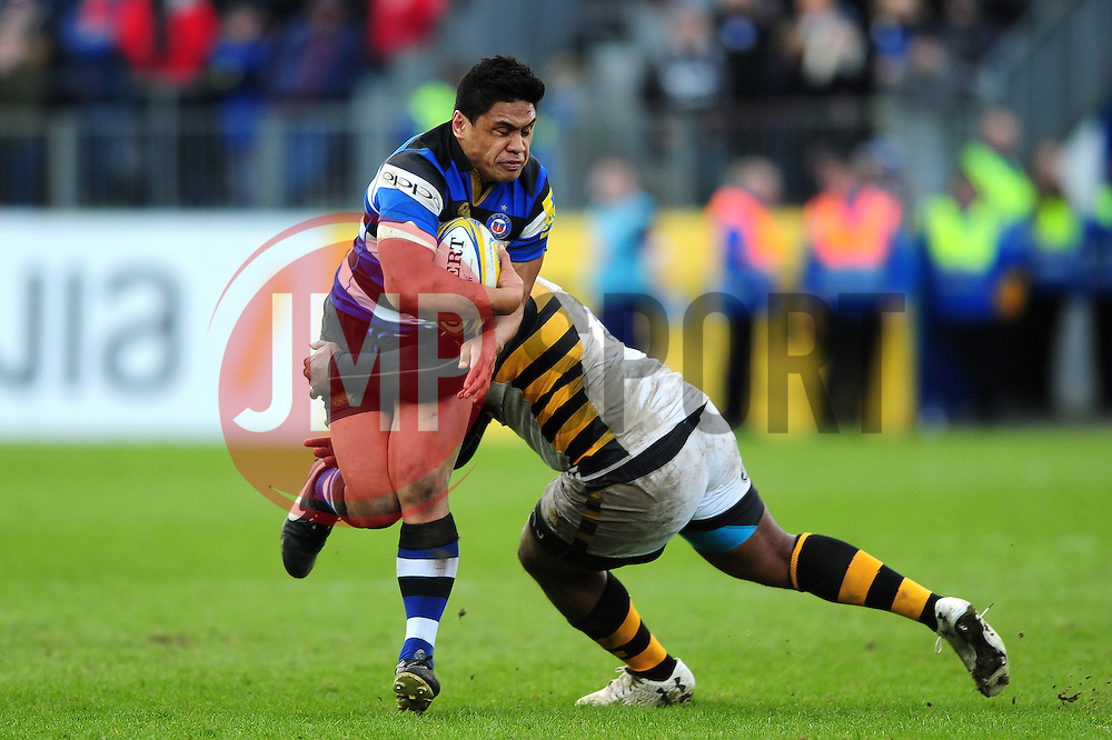 Ben Tapuai of Bath Rugby takes on the Wasps defence - Mandatory byline: Patrick Khachfe/JMP - 07966 386802 - 04/03/2017 - RUGBY UNION - The Recreation Ground - Bath, England - Bath Rugby v Wasps - Aviva Premiership.