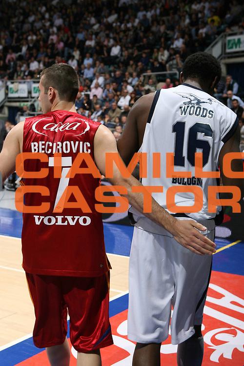 DESCRIZIONE : Bologna Lega A1 2008-09 Fortitudo Bologna Lottomatica Virtus Roma<br /> GIOCATORE : Sani Becirovic Qyntel Woods<br /> SQUADRA : Lottomatica Virtus Roma<br /> EVENTO : Campionato Lega A1 2008-2009 <br /> GARA : Fortitudo Bologna Lottomatica Virtus Roma<br /> DATA : 18/10/2008 <br /> CATEGORIA : fair play<br /> SPORT : Pallacanestro <br /> AUTORE : Agenzia Ciamillo-Castoria/M.Marchi