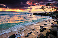 Sunset behind Kahoolawe and Molokini, from Secret Beach, Wedding Beach, Makena Cove, Maui, Hawaii