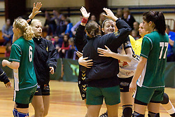 Team of RK Olimpija at last 10th Round handball match of Slovenian Women National Championships between RK Krim Mercator and RK Olimpija, on May 15, 2010, in Galjevica, Ljubljana, Slovenia. Olimpija defeated Krim 39-36, but Krim became Slovenian National Champion. (Photo by Vid Ponikvar / Sportida)