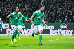 BREMEN, Dec. 8, 2018  Bremen's Martin Harnik (R) celebrates his scoring during a German Bundesliga match between SV Werder Bremen and Fortuna Duesseldorf, in Bremen, Germany, on Dec. 8, 2018. Duesseldorf lost 1-3. (Credit Image: © Kevin Voigt/Xinhua via ZUMA Wire)