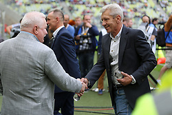 29.07.2015, PGE Arena, Gdansk, POL, Testspiel, OSP Lechia Gdansk vs Juventus Turin, im Bild LECH WALESA, TADEUSZ FAJFER // during the International Friendly Football Match between OSP Lechia Gdansk and Juventus FC at the PGE Arena in Gdansk, Poland on 2015/07/29. EXPA Pictures © 2015, PhotoCredit: EXPA/ Newspix/ Lukasz Grochala<br /> <br /> *****ATTENTION - for AUT, SLO, CRO, SRB, BIH, MAZ, TUR, SUI, SWE only*****