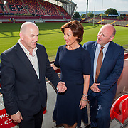 31.05.2018.          <br /> LEO Limerick welcomed Sean Gallagher to Limerick to talk about his new book 'Secrets to Success- Inspiring Stories from Leading Entrepreneurs'.<br /> Pictured at the event in Thomond Park were, Sean Gallagher, Vicki O'Toole, guest speaker and Pat Daly, Limerick City and County Council. Picture: Alan Place