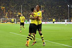 "14.09.2013, Signal Iduna Park, Dortmund, GER, 1. FBL, Borussia Dortmund vs Hamburger SV, 5. Runde, im Bild Pierre-Emerick Aubameyang #17 (Borussia Dortmund) gratuliert dem Torschuetzen Henrikh ""Micki"" Mkhihtaryan #10 (Borussia Dortmund) nach seinem Treffer zum 2:0,  // during the German Bundesliga 5th round match between Borussia Dortmund and Hamburger SV at the Signal Iduna Park, Dortmund, Germany on 2013/09/14. EXPA Pictures © 2013, PhotoCredit: EXPA/ Eibner/ Joerg Schueler<br /> <br /> ***** ATTENTION - OUT OF GER *****"