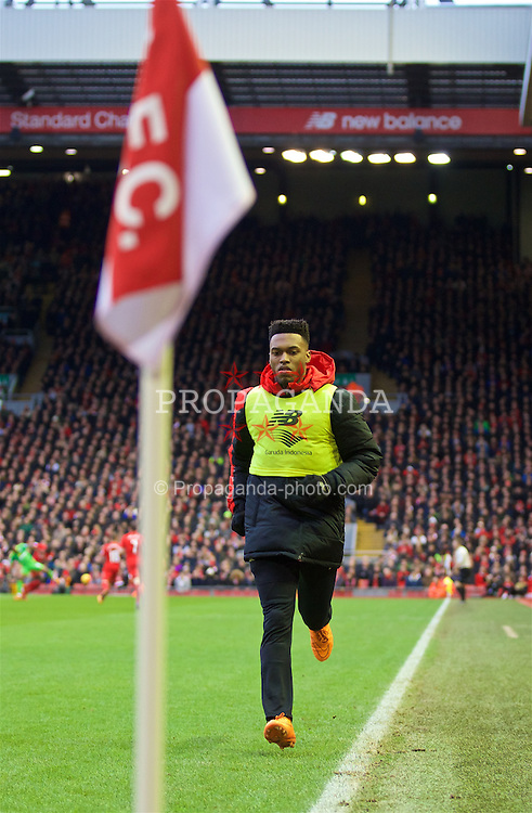 LIVERPOOL, ENGLAND - Saturday, February 6, 2016: Liverpool's substitute Daniel Sturridge warms-up during the Premier League match against Sunderland at Anfield. (Pic by David Rawcliffe/Propaganda)