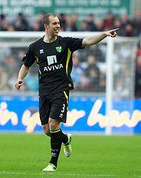SWANSEA, WALES - Saturday, December 8, 2012: Norwich City's Steven Whittaker celebrates scoring the first goal against Swansea City during the Premiership match at the Liberty Stadium. (Pic by David Rawcliffe/Propaganda)