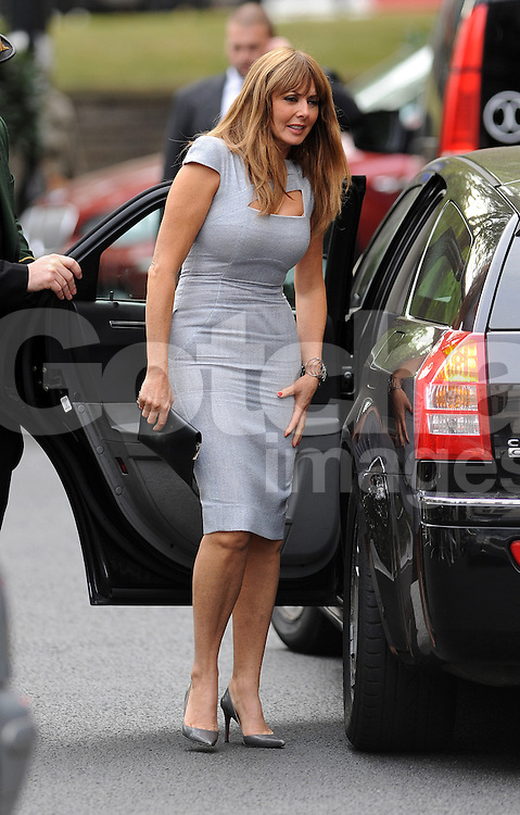 Loose Women presenter Carol Vorderman wearing a grey Victoria Beckham dress enjoys lunch with co-presenter Sally Lindsay at Scott's restaurant in Mayfair. After Lunch the pair said their goodbyes and Carol headed to the Dorchester Hotel in her Chauffeur driven car... 12/09/2012<br />