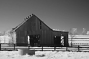 Rural Kentucky tobacco barn.  Infrared (IR) photograph by fine art photographer Michael Kloth. Black and white infrared photographs