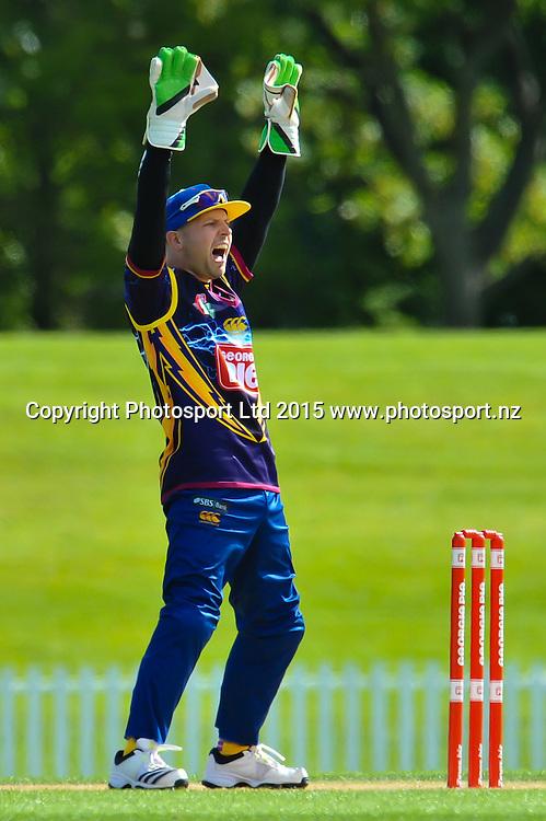 Derek de Boorder of Otago appeals for a out during the Georgie Pie Super Smash Twenty20 cricket game, Canterbury V Otago, at Hagley Oval, Christchurch. 12th November 2015. Copyright Photo: John Davidson/www.photosport.nz