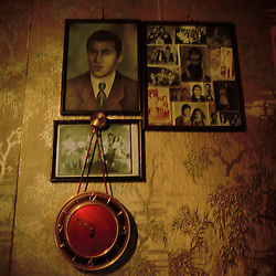 The photos on the wall in Antoni Goya's home. The large photo shows a young Antoni. Antoni remembers the horros of the war vividly, the dead bodies, the cold, the freezing and most strongly the day all the adults were taken away.