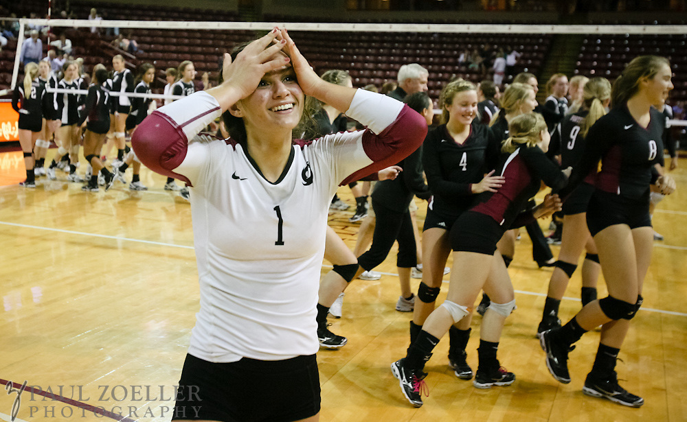 Porter-Guad's Marla Sagatelian smiles after her team defeated Ashley Hall during the SCISA volleyball championship Monday, Oct. 22, 2012 in Charleston at the College of Charleston TD Arena. Paul Zoeller/Special to the Post and Courier