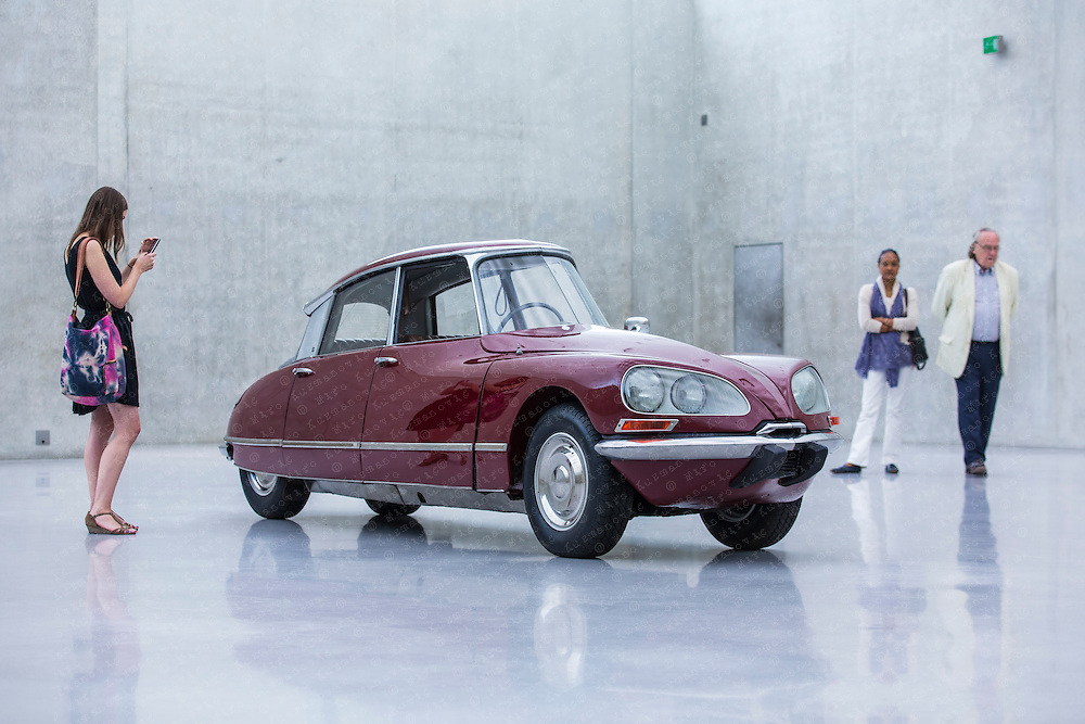 Gabriel Orozco's slimed Citroën DS is seen at his Kunsthaus Bregenz Natural Motion exhibition.