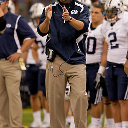 Sep 12, 2009; New Orleans, LA, USA; BYU Cougars head coach Bronco Mendenhall against the Tulane Green Wave at the Louisiana Superdome.  BYU defeated Tulane 54-3. Mandatory Credit: Derick E. Hingle-US PRESSWIRE