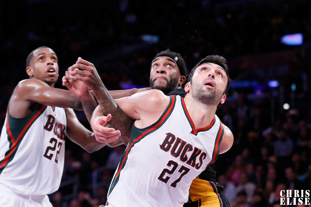 27 February 2015: Milwaukee Bucks center Zaza Pachulia (27) vies for the rebound with Los Angeles Lakers center Jordan Hill (27)  during the Los Angeles Lakers 101-93 victory over the Milwaukee Bucks, at the Staples Center, Los Angeles, California, USA.