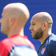 Michael Bradley, (left) and goalkeeper Tim Howard during the US Mens National Team training at Red Bull Arena in preparation for Sunday's game against Turkey as they prepare for the 2014 FIFA World Cup. Red Bull Arena, Harrison, New Jersey, USA. 30th May 2014. Photo Tim Clayton