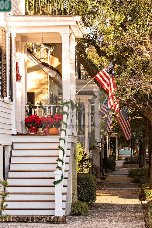Christmas wreath decorates a historic home in Savannah, GA.