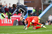 Leicester City forward Jamie Vardy challenged by Burnley goalkeeper Nick Pope  during the Premier League match between Burnley and Leicester City at Turf Moor, Burnley, England on 19 January 2020.