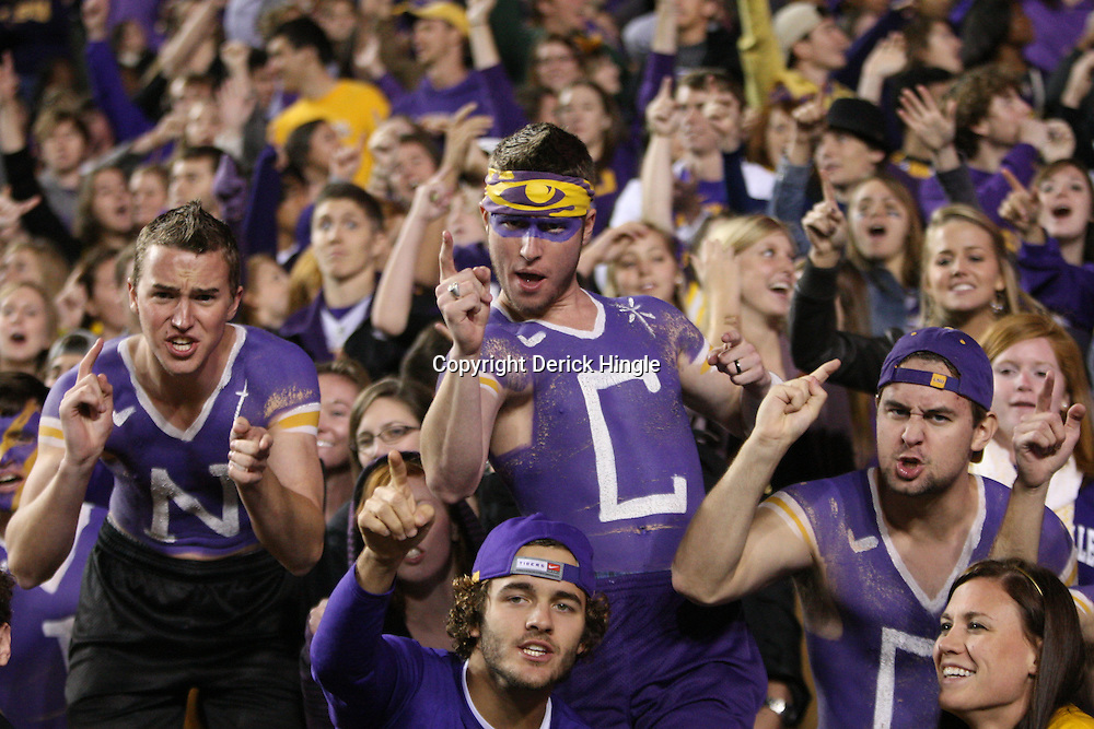 November 12, 2011; Baton Rouge, LA, USA;  LSU Tigers fans in the stands during a game against the Western Kentucky Hilltoppers at Tiger Stadium. LSU defeated Western Kentucky 42-9. Mandatory Credit: Derick E. Hingle-US PRESSWIRE