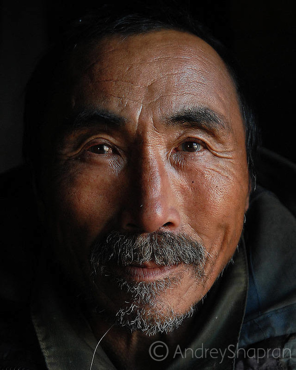 Portraits of Chukchi people. The Chukchi peninsula, Russia
