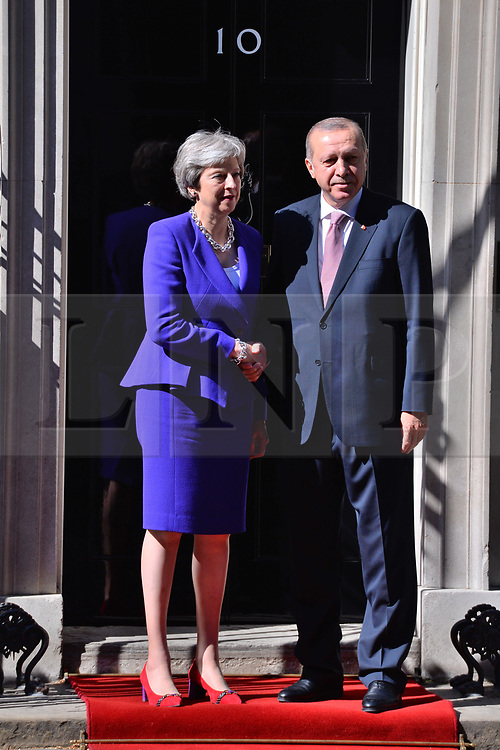 &copy; Licensed to London News Pictures. 15/05/2018. London, UK. President of Turkey Recep TAYYIP ERDOGAN meets BritIsh Prime Minister THERESA MAY at No.10 Downing St during a three day visit to the UK.<br />