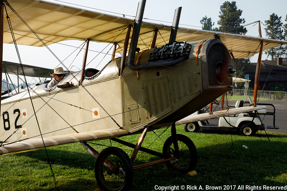 "Engine test run on Curtiss JN-4D ""Jenny"" at 2017 Hood River Fly-In."