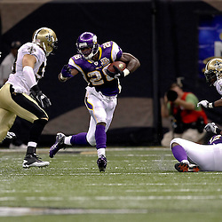 September 9, 2010; New Orleans, LA, USA;  Minnesota Vikings running back Adrian Peterson (28) is pursued by New Orleans Saints linebacker Scott Shanle (58) during the NFL Kickoff season opener at the Louisiana Superdome. The New Orleans Saints defeated the Minnesota Vikings 14-9.  Mandatory Credit: Derick E. Hingle