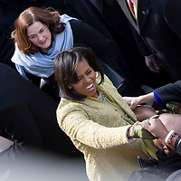 First Lady Michelle Obama greets well wishers after the Inauguration of President Barack Obama as 44th President of the United States of America. US Capitol, Washington, DC. 1/20/09. Photo by Lisa Quinones/Black Star.