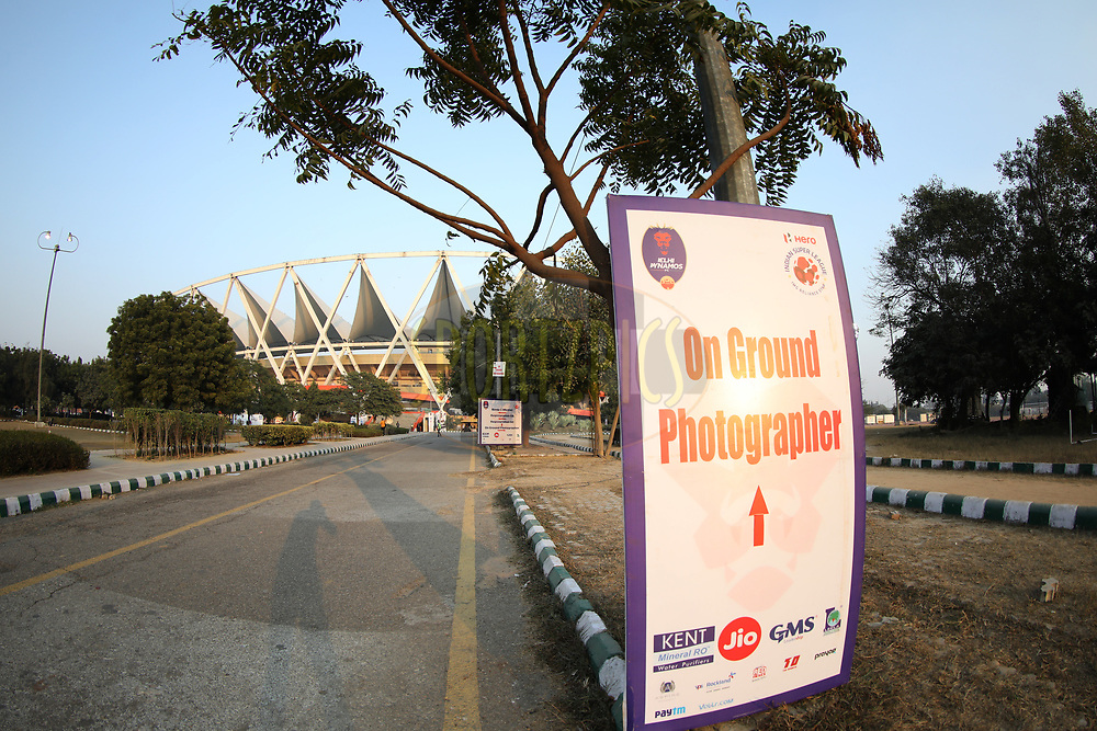 Sign board of Jawaharlal Nehru Stadium during match 47 of the Hero Indian Super League between Delhi Dynamos FC and Bengaluru FC held at the Jawaharlal Nehru Stadium, Delhi, India on the 14th January 2018<br /> <br /> Photo by: Arjun Singh  / ISL / SPORTZPICS