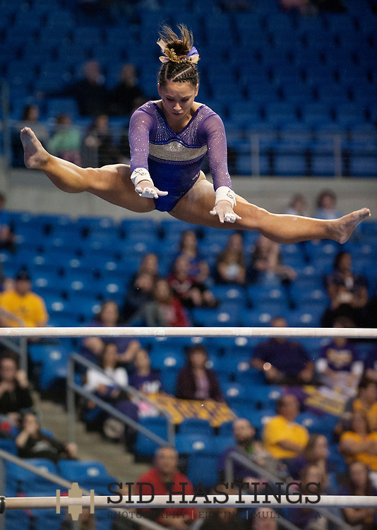 20 APRIL 2018 -- ST. LOUIS -- LSU gymnast Sarah Finnegan competes in the Uneven Parallel Bars during the 2018 NCAA Women's Gymnastics Championship Semifinals in St. Louis Friday, April 20, 2018. LSU finished second in the semifinal, joining UCLA and Nebraska in advancing from the first semifinal into the Super Six championship round on Saturday.<br /> <br /> Photo &copy; copyright 2018 Sid Hastings.