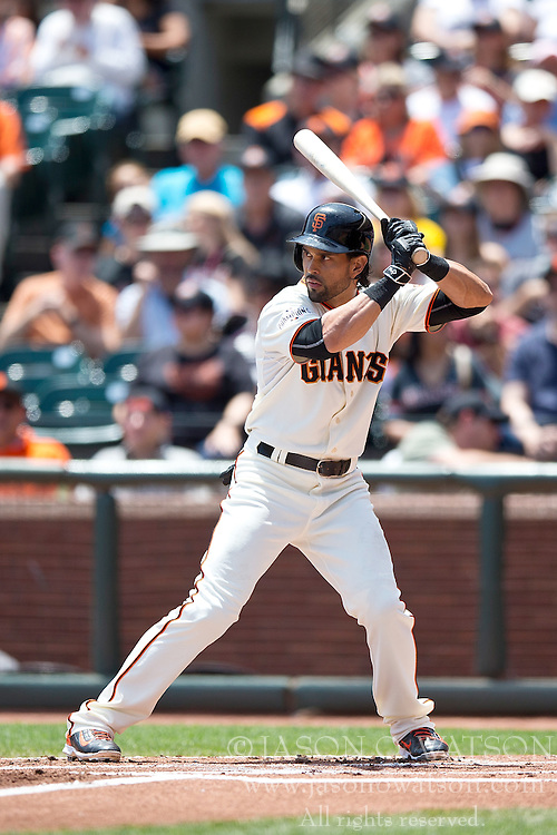 SAN FRANCISCO, CA - JULY 12:  Angel Pagan #16 of the San Francisco Giants at bat against the Philadelphia Phillies during the first inning at AT&T Park on July 12, 2015 in San Francisco, California.  The San Francisco Giants defeated the Philadelphia Phillies 4-2. (Photo by Jason O. Watson/Getty Images) *** Local Caption *** Angel Pagan