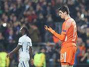 Chelsea's Goalkeeper Thibaut Courtois disappointed during Champions League match between Barcelona and Chelsea at Camp Nou, Barcelona, Spain on 14 March 2018. Picture by Ahmad Morra.