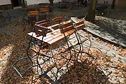 geschlossener Biergarten, Altstadt, Ingolstadt, Bayern, Deutschland | closed beer garden, old town, Ingolstadt, Bavaria, Germany