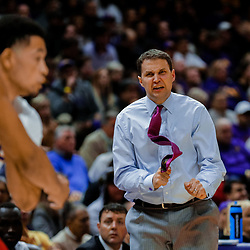 Jan 13, 2018; Baton Rouge, LA, USA; LSU Tigers head coach Will Wade reacts to play on the court during the second half against the Alabama Crimson Tide at the Pete Maravich Assembly Center. Alabama defeated LSU 74-66.  Mandatory Credit: Derick E. Hingle-USA TODAY Sports
