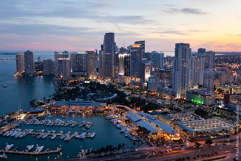 Aerial View of Downtown Miami Skyline in early morning showing Biscayne Boulevard,  Bayside and Bayfront Park and the downtown business district.