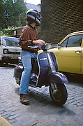 Man on Vespa, High Wycombe, UK, 1980s.