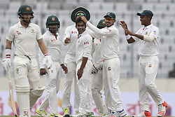 August 28, 2017 - Mirpur, Bangladesh - Bangladesh's Mehedi Hasan Miraz celebrate with his teammates after the dismissal of Australia's Matthew Wade  during day two of the First Test match between Bangladesh and Australia at Shere Bangla National Stadium on August 28, 2017 in Mirpur, Bangladesh. (Credit Image: © Ahmed Salahuddin/NurPhoto via ZUMA Press)