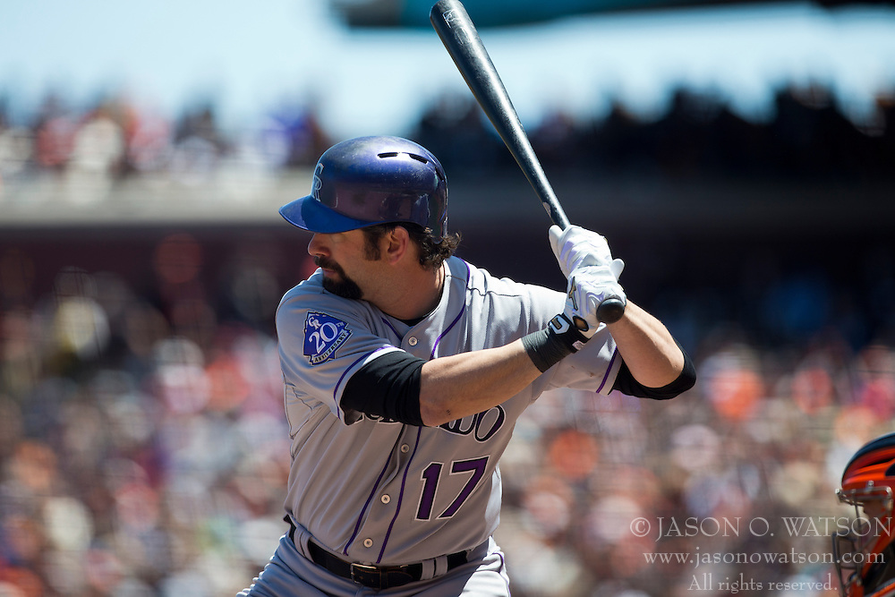 SAN FRANCISCO, CA - MAY 26: Todd Helton #17 of the Colorado Rockies at bat against the San Francisco Giants during the third inning at AT&T Park on May 26, 2013 in San Francisco, California. The San Francisco Giants defeated the Colorado Rockies 7-3. (Photo by Jason O. Watson/Getty Images) *** Local Caption *** Todd Helton