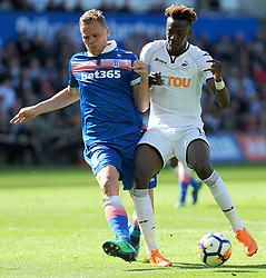 Ryan Shawcross of Stoke City jostles with Tammy Abraham of Swansea City  -Mandatory by-line: Nizaam Jones/JMP- 13/05/2018 - FOOTBALL - Liberty Stadium - Swansea, Wales - Swansea City v Stoke City - Premier League