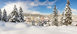 """Downtown Truckee 31"" - Stitched panoramic photograph of a snowy historic Downtown Truckee, shot in the afternoon, after a big snow storm."