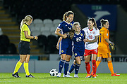 Erin Cuthbert (#22) of Scotland is helped back to her feet by Chelsea teammate Ramona Bachmann (#10) of Switzerland during the 2019 FIFA Women's World Cup UEFA Qualifier match between Scotland Women and Switzerland at the Simple Digital Arena, St Mirren, Scotland on 30 August 2018.