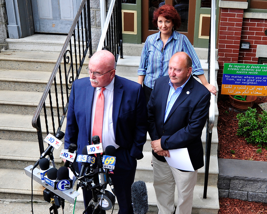 Allentown Mayor Ed Pawlowski and his attorney Jack McMahon speak at a news conference in the wake of a filing of a federal indictment against Pawlowski alleging he participated in a pay-to-play scheme Wednesday July 26, 2017 in Allentown. (Chris Post | Lehighvalleylive.com contributor)