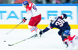Jakub Voracek of Czech Republic vs Mark Arcobello of USA during Ice Hockey match between USA and Czech Republic at Third place game of 2015 IIHF World Championship, on May 17, 2015 in O2 Arena, Prague, Czech Republic. Photo by Vid Ponikvar / Sportida
