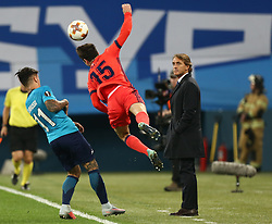 September 28, 2017 - Saint Petersburg, Russia - Sebastian Driussi of FC Zenit Saint Petersburg (L) and Aritz Elustondo of FC Real Sociedad vie for the ball during the UEFA Europa League Group L football match between FC Zenit Saint Petersburg and FC Real Sociedad at Saint Petersburg Stadium on September 28, 2017 in St.Petersburg, Russia. (Credit Image: © Igor Russak/NurPhoto via ZUMA Press)