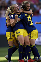 June 29, 2019 - Rennes, France - Stina Blackstenius (Linkopings FC) of Sweden celebrates goal with her teammates during the 2019 FIFA Women's World Cup France Quarter Final match between Germany and Sweden at Roazhon Park on June 29, 2019 in Rennes, France. (Credit Image: © Jose Breton/NurPhoto via ZUMA Press)